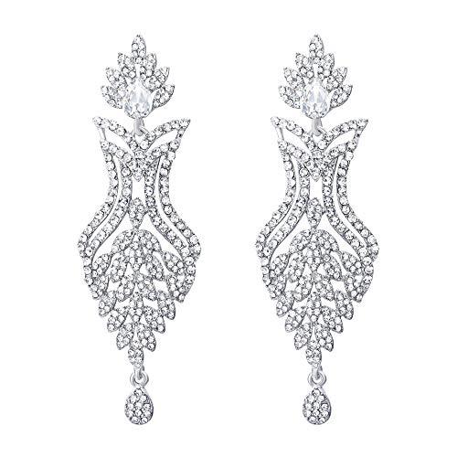 EVER FAITH Women's Rhinestone Crystal Bohemia Flower Leaf Teardrop Pierced Earrings Clear Silver-Tone