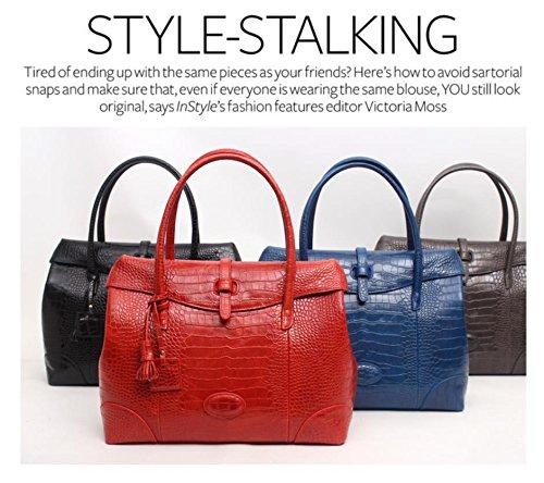 Fashion Crocodile Pattern Leather Shoulder Handbag 4 Color (Red) by PRISTINE&BB (Image #3)