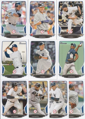 2013 New York Yankees Bowman Baseball Series Made by Topps Complete Mint 10 Card Hand Collated Team Set Including Derek Jeter, Mariano Rivera, Mark Teixeira and Others (Mint Baseball Cards Bowman)