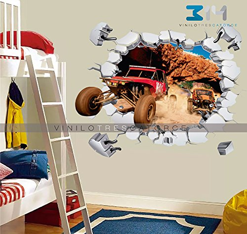 Vinilo Decorativo Carro Forza Horizon 3 -i06 Calcoman'a De Pared 3D Buggy Arenero Simulando Muro Roto Sticker Mural Para La...