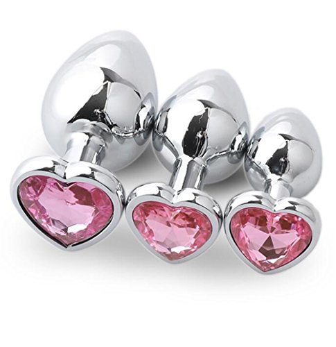 Anal Plug Stainless Steel Heart Shape Fetish Butt Plug Anal Toy S M L Jewel Trainer Set 3PCS Sex Diamond Jeweled Toys Pink by FasterS