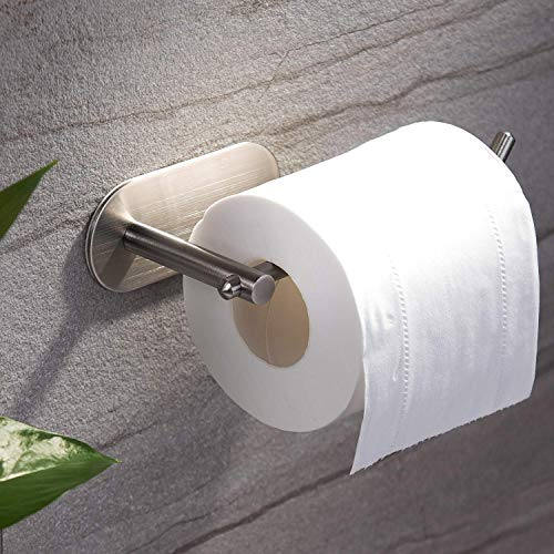 (YIGII Adhesive Toilet Paper Holder - MST001 Self Adhesive Toilet Roll Holder for Bathroom Kitchen Stick on Wall Stainless Steel Brushed)