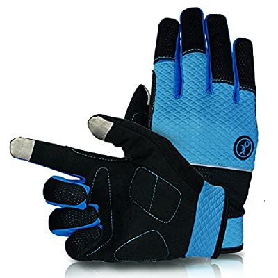 KUPEERS Cycling Gloves Touch Screen Cycling Gloves Road Racing Bicycle Gloves Windproof Cycling Gel Pad Riding Gloves Velcro Design Unisex Cycling Gloves(Black&Blue)