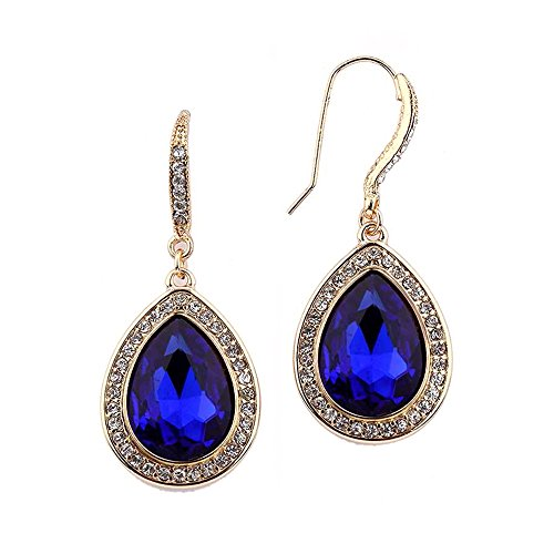 Mariell Top-Selling Gold and Royal Blue Crystal Dangle Earrings for Prom, Bridesmaids & Fashion (Cobalt Blue Earrings)