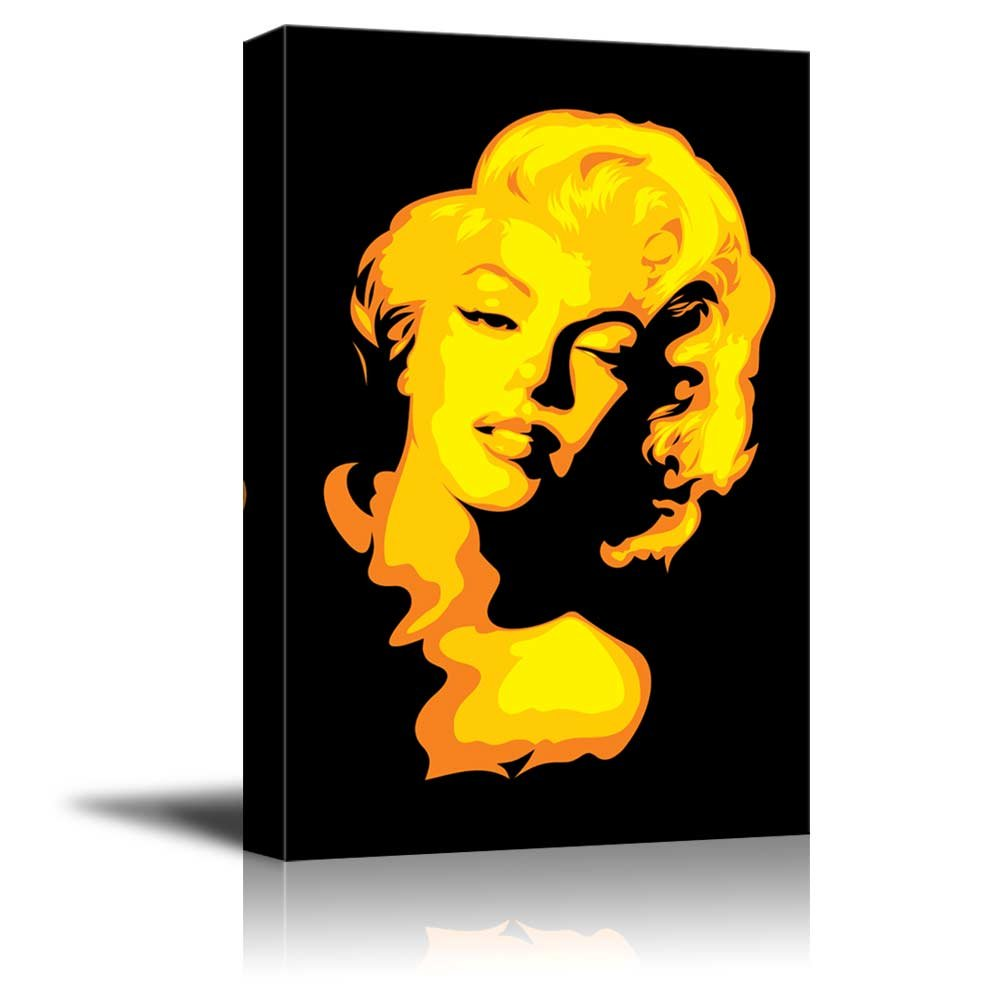 Artistic Portrait of Marylin Monroe in Yellow Color Pop Art Wall ...