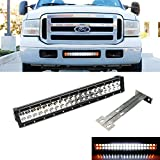 """iJDMTOY 20"""" 120W White LED Light Bar w/ Amber LED Strobe & Lower Bumper Grill Mounting Bracket For 1999-2007 Ford F-250 F-350 Super Duty (Dual-Switch Wiring Harness Included)"""