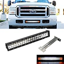 "iJDMTOY 20"" 120W White LED Light Bar w/ Amber LED Strobe & Lower Bumper Grill Mounting Bracket For 1999-2007 Ford F-250 F-350 Super Duty (Dual-Switch Wiring Harness Included)"