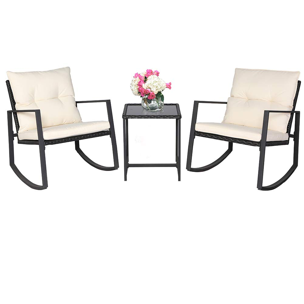 Suncrown outdoor 3 piece rocking bistro set black wicker furniture two chairs with