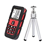 DMiotech Laser Distance Measure 131ft 40m Mini Handheld Digital Laser Distance Meter Rangefinder Measurer Tape Red with Tripod