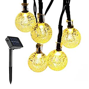 Solar String Lights,Ilyever 20ft 30 LED Waterproof Crystal Ball String Lights Solar Powered Globe Fairy String Lights for Garden,Yard,Home,Christmas Party,Indoor and Outdoor Decorations,Warm Light