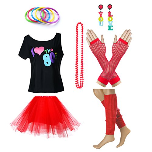 TDmall Clothing Series Women's I Love The 80's T-Shirt 80s Outfit accessories (S/M, -
