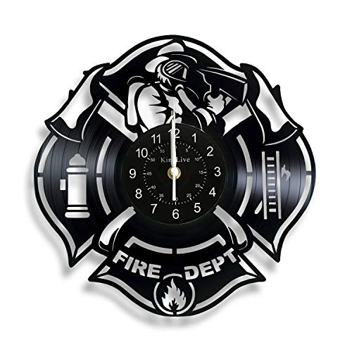 Shinestore Fire Department Vinyl Record Wall Clock Home Decor Interior Design Gift for Firefighter