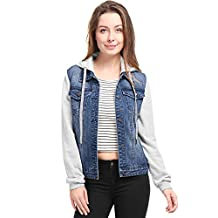 uxcell® Women Layered Hooded Denim Jacket