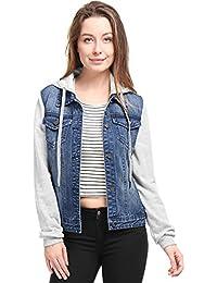 Women's Layered Drawstring Hood Denim Jacket w Pockets