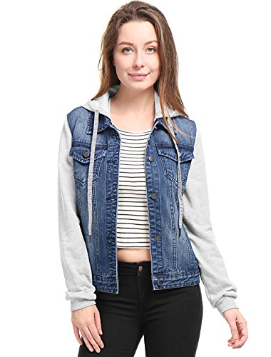 Allegra K Women's Layered Hooded Denim Jacket w Pockets L Dark Blue - Hooded Denim