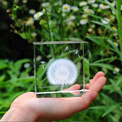Crystals glass Ball Dandelion 3D Plant Processing Crystal Sculpture Crystal Craft Crystal - Whole Plant Dandelion
