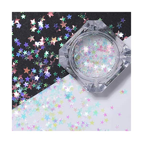 NICOLE DIARY 5 Boxes Holographic Nail Sequins Iridescent Flakes Colorful Glitter Manicure Nail Art Design Make Up DIY Decals Decoration 6