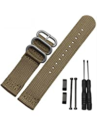 Efitty Luxury Nylon 3 Ring Lugs Watch Band Strap Replacement + Adapters For Suunto Core (Brown)