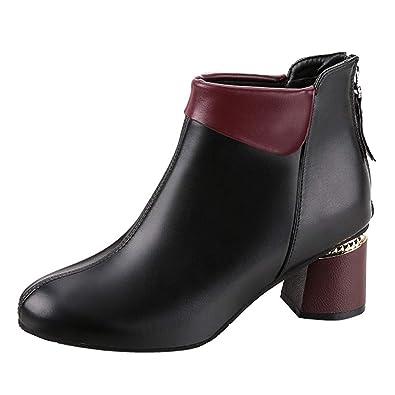 Botines de Invierno Mujer, Btruely Zapatos de tacón Alto para Mujer, Botas de cálidos