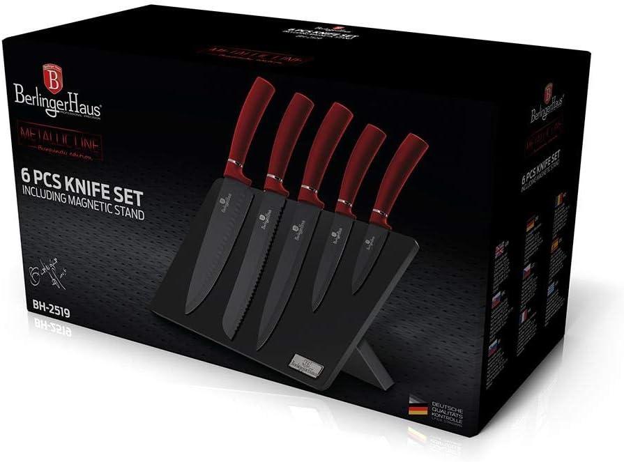 6 pz Metallizzata Linea Edizione Borgogna Berlinger Haus Set di coltelli con Supporto
