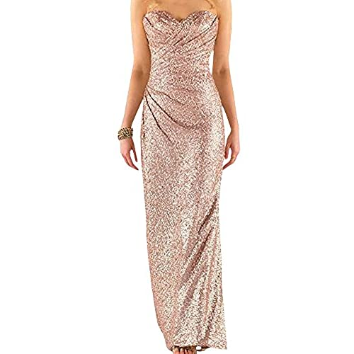 Ever Girl Womens Sweetheart Sequins Long Bridesmaid Dresses Prom Dresses Wedding Party Gown Rose Gold US10