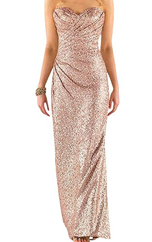 Ever Girl Women's Sweetheart Sequins Long Bridesmaid Dresses Prom Dresses Wedding Party Gown RG US14 Rose Gold