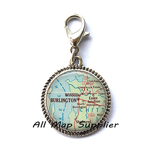 Beautiful Zipper Pull,Burlington map Zipper Pull, Burlington map Charming Zipper Pull, Burlington Vermont map Zipper Pull, map jewelry,A0300