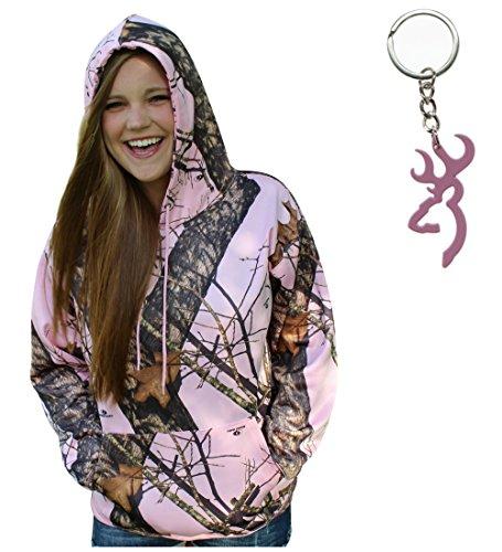 Mossy Oak Pink Hoodie Performance Fleece Camo Sweatshirt+Browning Key (S)