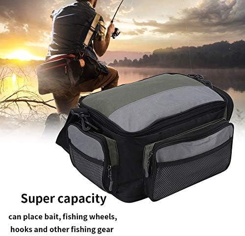 フィッシングバッグ 釣具タックルバッグ 防水 防湿 ダブルジッパーデザイン ショルダー バッグ 釣具収納バッグ 600Dオックスフォード布