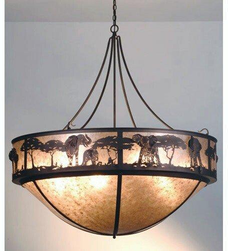 Meyda Tiffany Custom Lighting 81918 Elephant 12-Light Pendant, Cinnamon Coffee Metallic Finish with Silver Mica by Meyda Tiffany Custom Lighting
