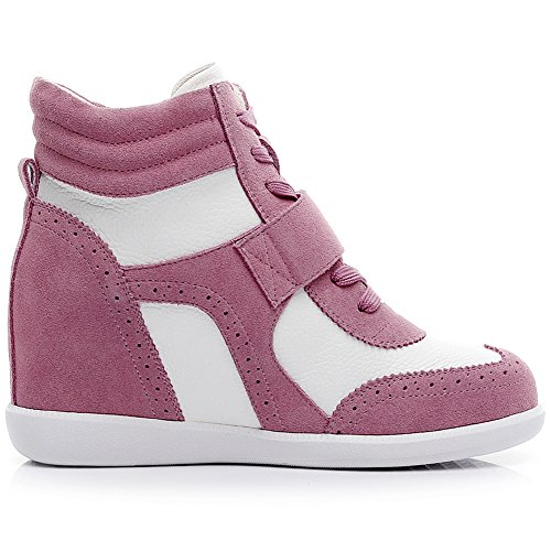 amp;white Leather amp;Loop Women's Hook amp;Suede Wedge Sneakers Fabric Pink rismart Fashion Casual 7qPqF