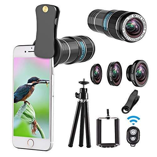 Phone Camera Lens kit, 4 in 1 Lens Kit, 12X Telephoto Lens + 180° Fisheye Lens + 0.65 Wide Angle Lens + Macro Lens, Clip-On Lenses for iPhone 8 7 6 Plus, Samsung Smartphone + Remote Shutter