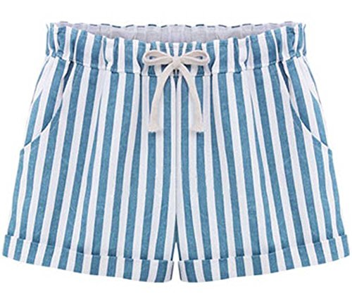 Sky Blue Shorts - QZUnique Women's Plus-Size Casual Elastic Waist Striped Shorts Sky Blue US XS