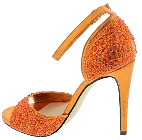 Ankle Orange Womens Rhinestone Rhinestone Sandal Strap Ankle High Womens Heel zv4qw4xI