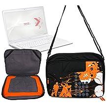"Sacoche noire/orange - motif ""urban music"" - pour ordinateur portable Toshiba Qosmio X770 , Samsung 900X4C, 900X4B, Series 9 900X4D A03, Series 9 NP900X4C-A07US 15"" Premium Ultrabook + bandoulière - DURAGADGET"