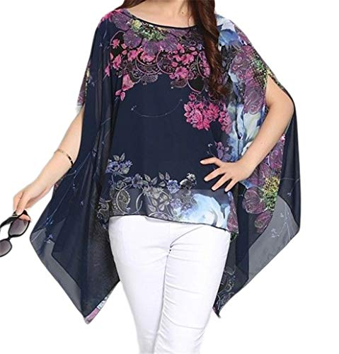 iNewbetter Sheer Chiffon Caftan Poncho Batwing Tunic Top Oversized Shirts Floral Printed Boho Blouse Blue