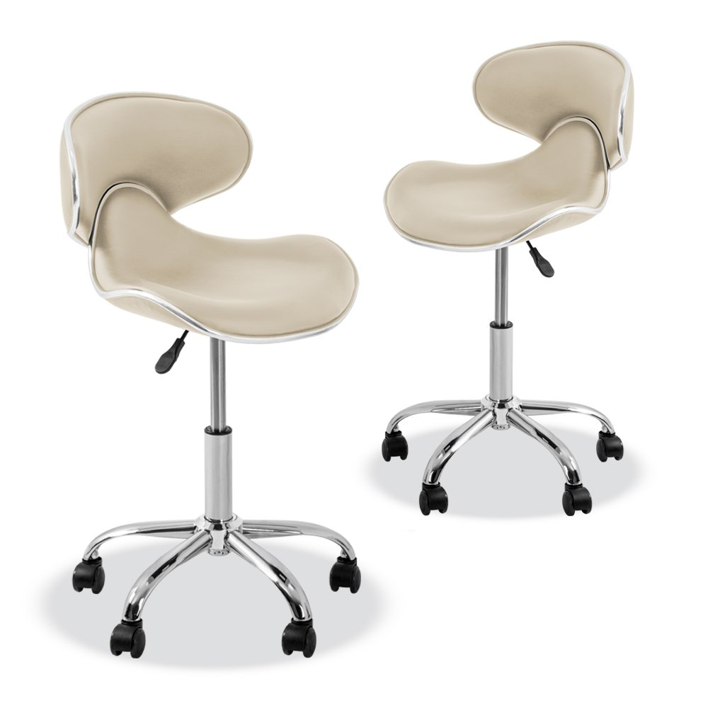 YK-9315 Stool with Adjustable Foot Rest Rolling Chair (Set of 2)(Cream)