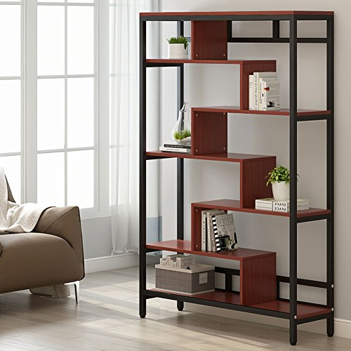 LITTLE TREE Home Furniture 7-Shelf Bookcase, Modern Contemporary Cube Bookcase, Cherry by LITTLE TREE