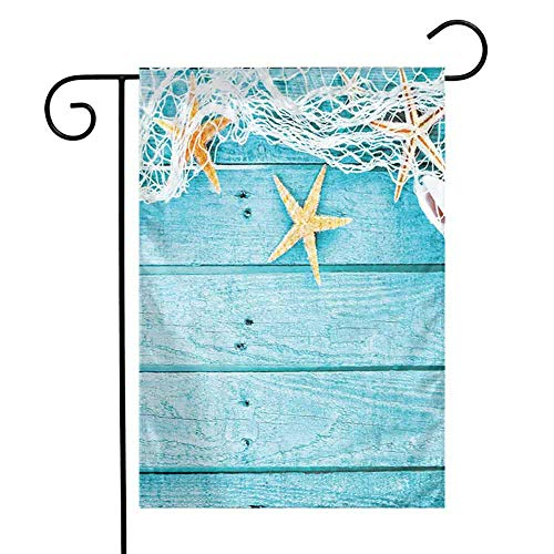 Starfish Decor Fall Scarecrow Harvest Decorative FlagRustic Wood Boards Fishing Net and Ocean Animals Nautical Print Autumn Pumpkin Garden Yard Decorations W12 x L18 inch Turquoise White Orange