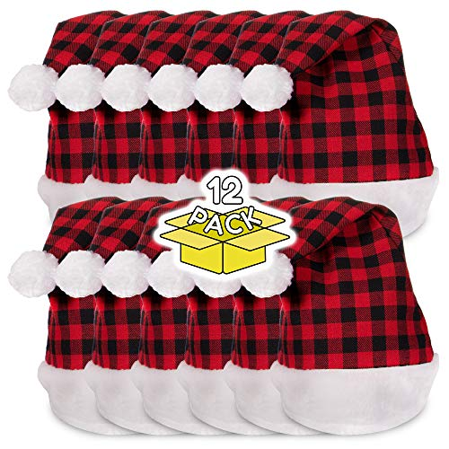 12 Pack | Plaid Buffalo Santa Hats in Bulk Wholesale]()