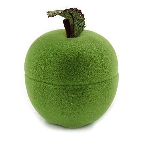 Avalaya Lime Green Velour Apple Jewellery Box for Small Ring/Stud Earrings