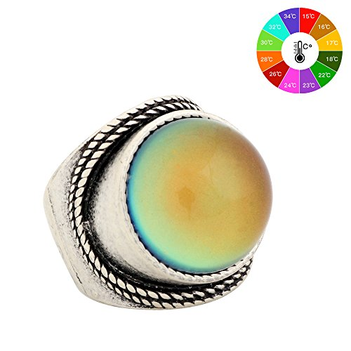Mojo Mood Rings Antique Sterling Silver Plated Big Round Stone Ring Color Change MJ-RS045 (7) - Green Silver Plated Ring