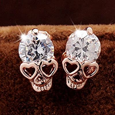 Diansts(TM) Rose Gold Women Tone Crystal Diamond Skull Pierced Stud Earrings Jewelry NEW