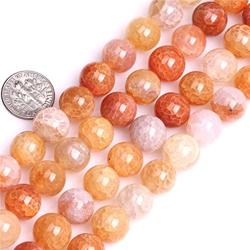 8mm Natural Crackled Agate Beads Round Gemstone Loose Beads for Jewelry Making (47-50pcs/strand)