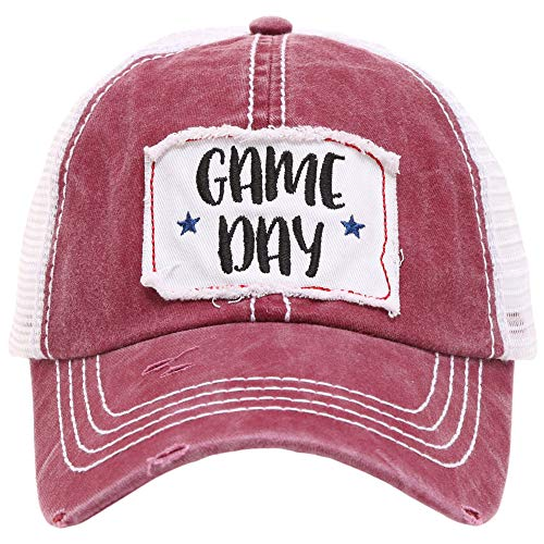 MIRMARU Women's Baseball Caps Distressed Vintage Patch Washed Cotton Low Profile Embroidered Mesh Snapback Trucker Hat (Game Day, Burgundy) ()