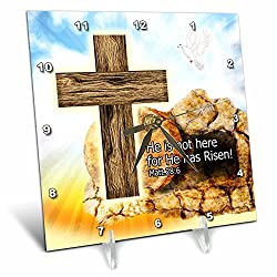 Dream Essence Designs-Holidays Easter - Easter Cross of Jesus He is Risen tomb in background Digital Artwork - 6x6 Desk Clock (dc_243249_1)