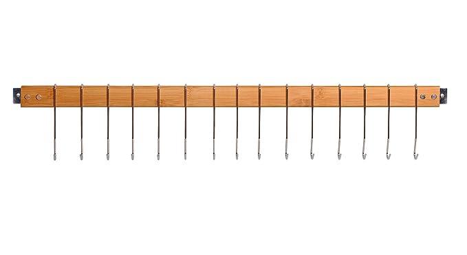 appendiabiti organizer con 15 ganci MK420A JackCubeDesign decorativa da cucina in bamb/ù da parete con supporto per pentola