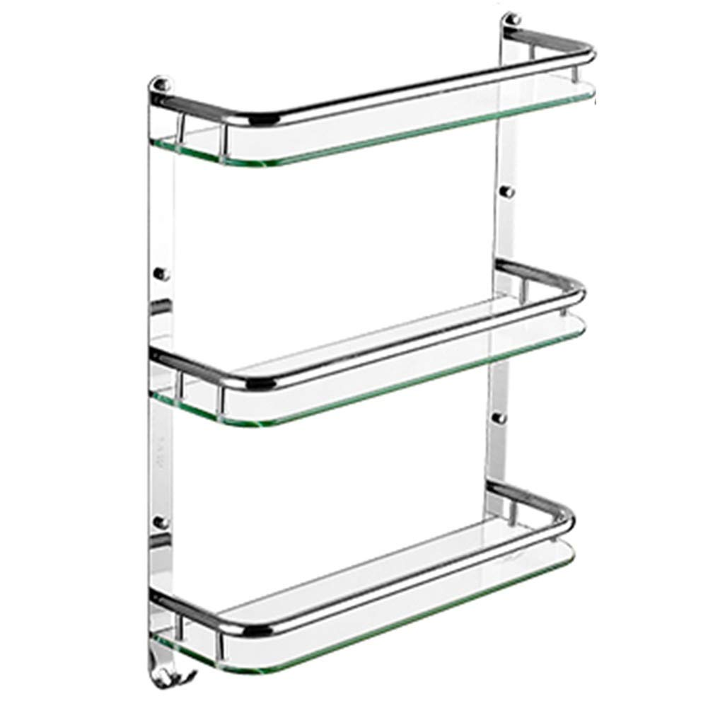 E-610x140x612mm ZHANWEI Bathroom Shelf Shower Storage Tempered Glass 1 2 3 Tiers Wall-Mounted Punch Inssizetion 304 Stainless Steel Towel Racks, 3 Sizes (color   C-410x140x375mm)