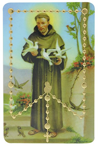 Lot of 5- Pray the Rosary Card - PVC with Raised Beads - St Anthony Rosary Holy Card