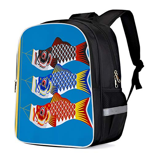 (Unisex Durable School Backpack- Orson Welles Carp Kite, Lightweight Oxford Fabric School Bags with Reflective Strip Daypack Laptop)